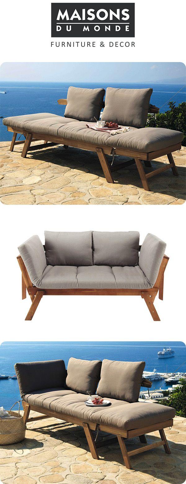 3 seater acacia wood modular garden bench seat | Maisons du Monde