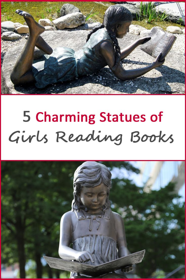 Charming statues of girls reading books, captures the pure love of reading.