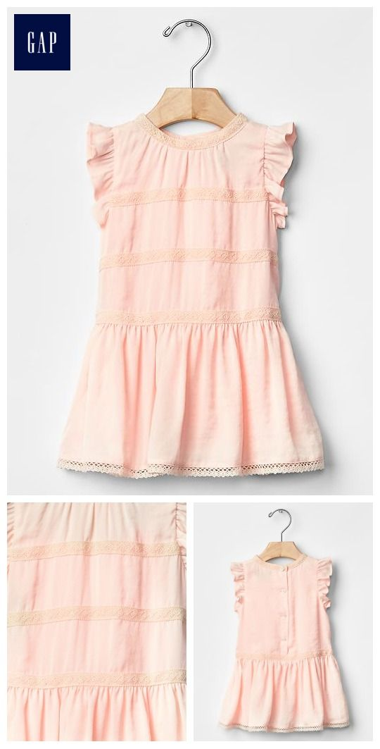 Lace-trim flutter dress. Baby Girl.