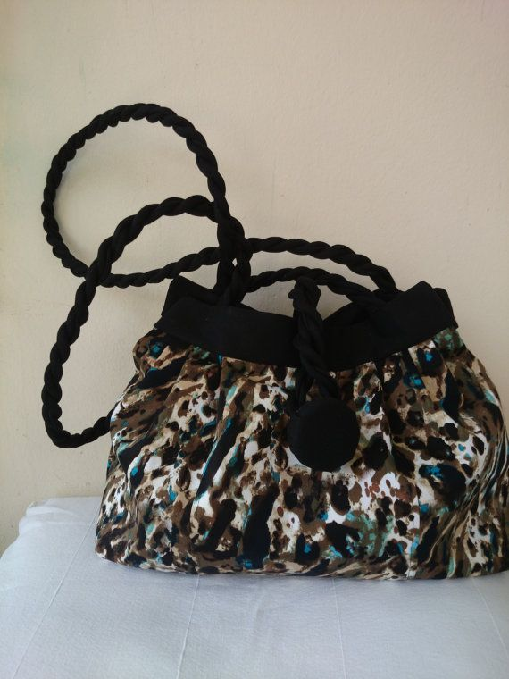 Design jungle and black bag, cotton satin interfacing and lining, hand bag and shoulder bag, trendy,elegant and chic casual.