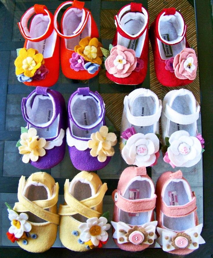 Orange baby girl shoes, maryjanes with flowers, felt baby booties. $32.00, via Etsy.