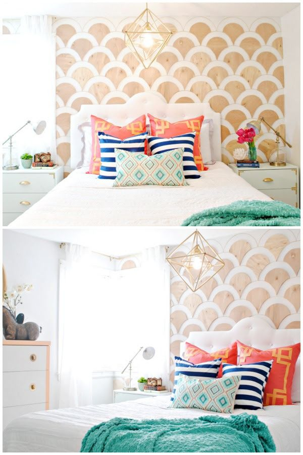 Wood-Scalloped-Wall-Treatment-and-Colorful-DIY-Bedroom-Makeover.jpg 600×901 pixels