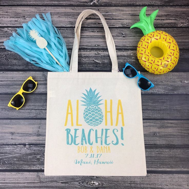 Are you planning a destination wedding in Hawaii?! Our adorable ALOHA BEACHES tote bags are the oh so perfect welcome favor for your guests!