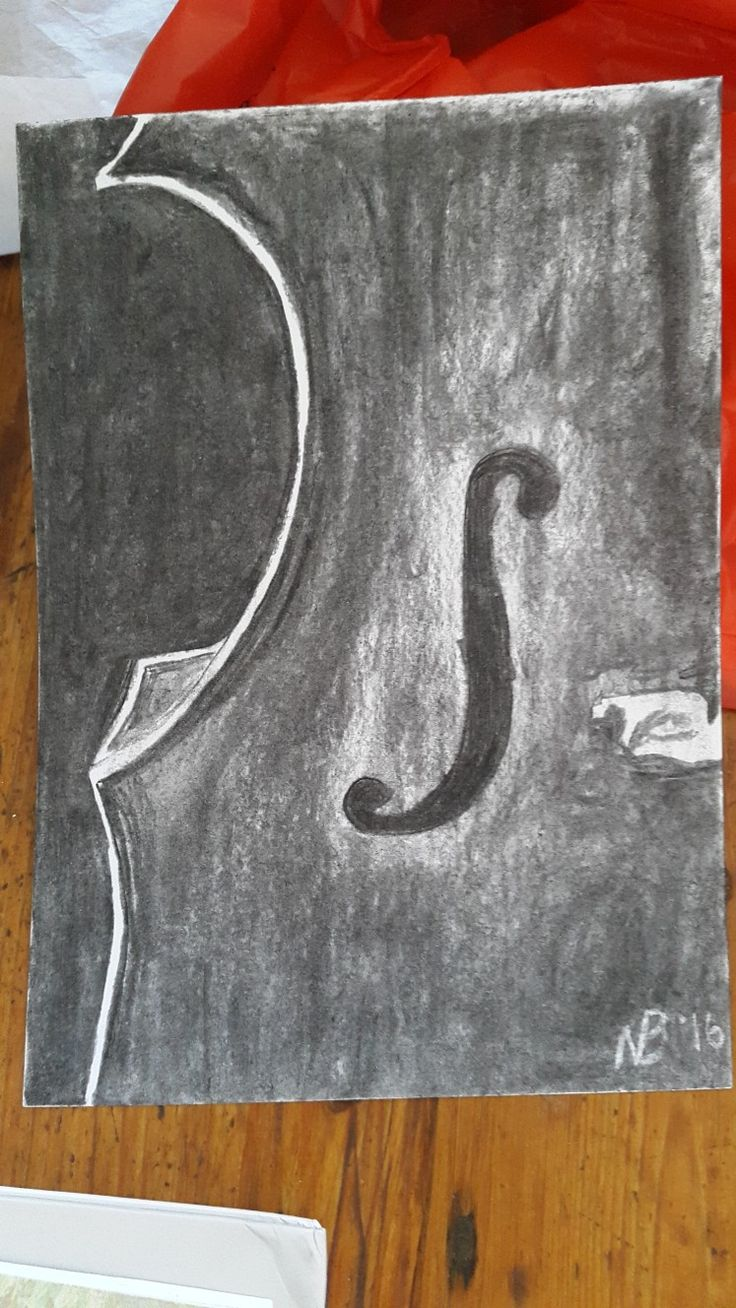Cello sketch in charcoal