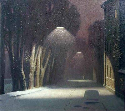 """""""Night Landscape"""" by Ilya Pyankov. Reminds me of my winters in Chicago, could easily be entitled, A Chicago Alley"""