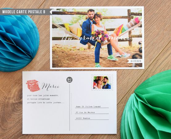 carte postale merci mariage - 1000 Mercis Mariage