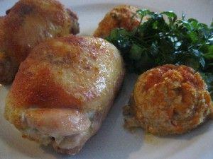 Filézett csirkecomb zöldséges töltelékkel és zöldség gombóccal