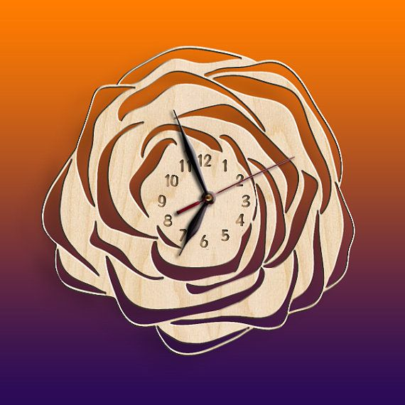 Wall Clock Flower Ornament Rose Wooden Black Wall Art