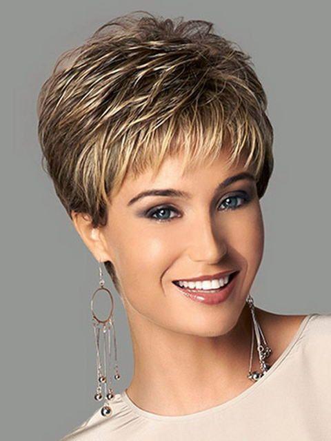 Synthétiques faits saillants blonde court femelle coupe de cheveux, puffy pelucas pelo naturel cheveux courts perruques pour les femmes noires