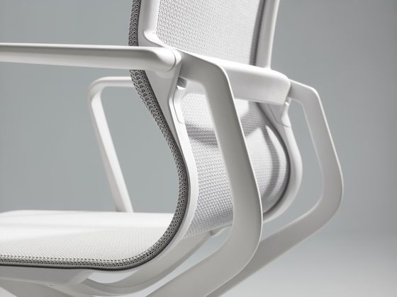 The structure of Physix by Vitra is based on the idea of creating a continuous seat shell by stretching a single textile panel between two side members //