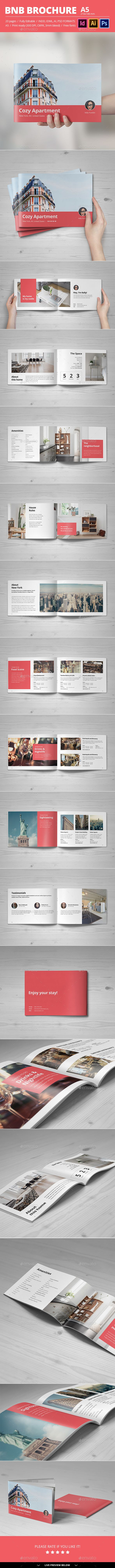 BNB Brochure Template PSD, InDesign INDD, AI Illustrator - 20 Pages, A5