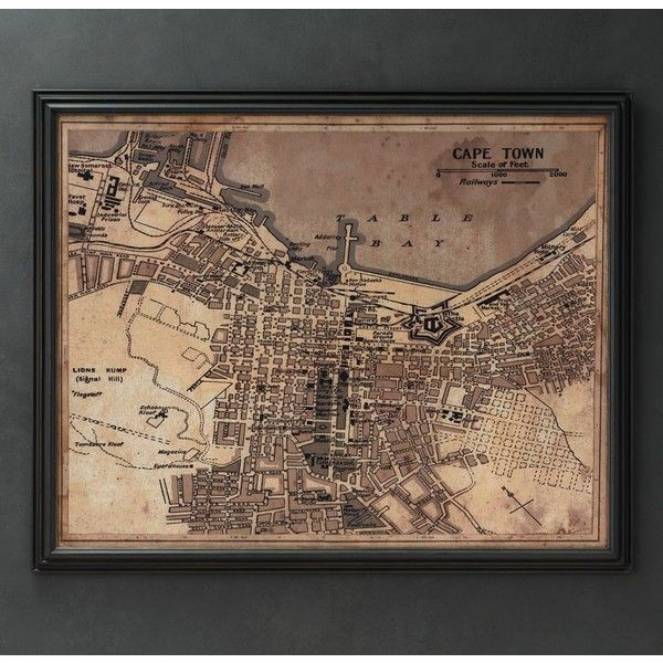 Circa 1922 Cape Town Map (¥154,695) ❤ liked on Polyvore featuring home, home decor, wall art, art, map wall art, restoration hardware, map home decor, restoration hardware wall art and black home decor