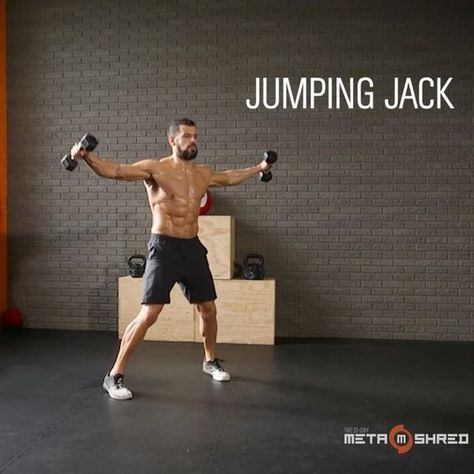 The LIGHTWEIGHT LEAN-OUT workout from @metashred21 and @bjgaddour! Grab a pair of light 5 to 10-lb. dumbbells and alternate between 20 seconds of work and 10 seconds of rest for each exercise in the following 8-exercise circuit: 1- Jumping Jacks 2- Skier Swings 3- Thrusters 4- Rotational Punches 5- Diagonal Chops L/R (switch sides halfway) 6- Discus L/R (switch sides halfway) 7- Ground and Pound 8- Speed Z Presses After completing all 8 moves, rest a minute. That's 1 round. Do up to 6…