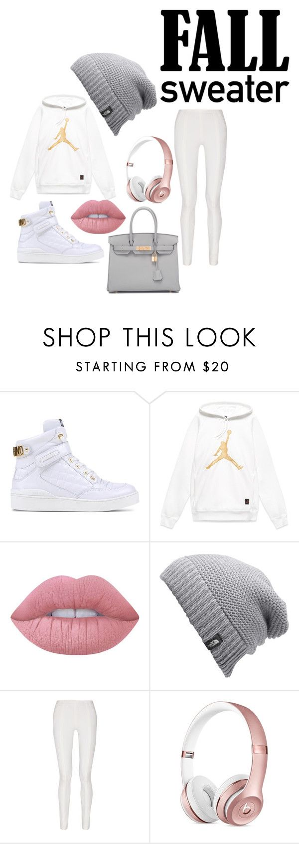"""Jordan Sweater Weather"" by dariah3412 on Polyvore featuring Moschino, Lime Crime, The North Face, Donna Karan and Hermès"