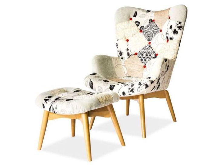 Fotel PAG I Tkanina patchwork, stelaż drewno. Wymiary 68/97/44-45 Cena: 1599zł