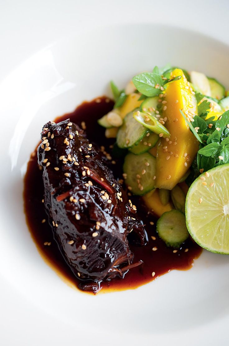 Sweet Soy Braised Beef Cheeks with Mango Salad - The Happy Foodie