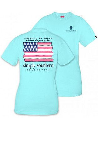 """Simply Southern """"American By Birth"""" Tee - Marine Blue from Chocolate Shoe Boutique"""