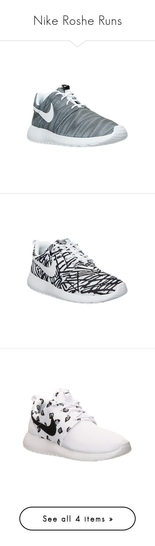 """Nike Roshe Runs"" by typical-dresser ❤ liked on Polyvore featuring shoes, grey, jogging shoes, low shoes, nike shoes, patterned shoes, nike, white, light weight shoes and nike footwear"