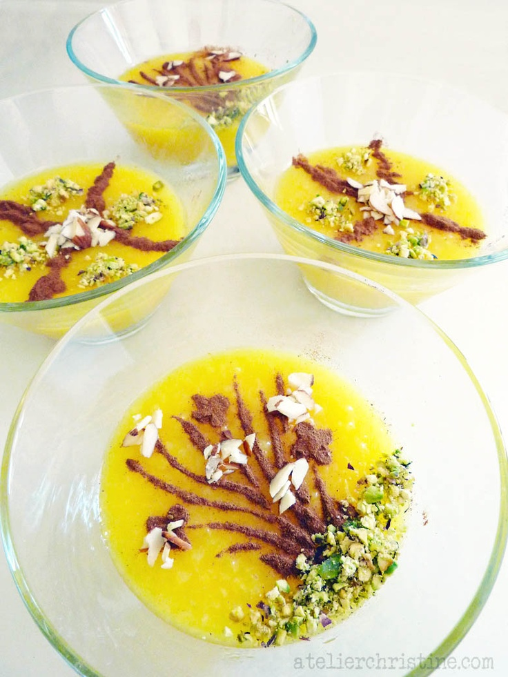 SHOLEH ZARD | Persian Rice Pudding, flavored with saffron + rose water #recipe #spoondessert #middleeasternfood