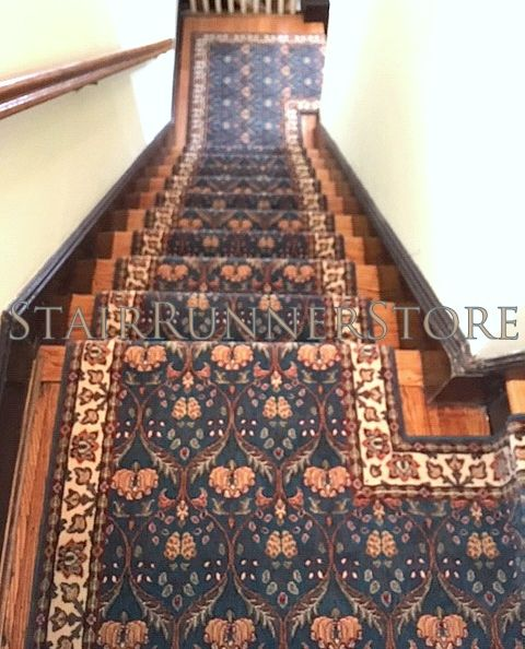 Stairrunnerinstallation Staircaserunner With 2 Custom Landings By Stairrunnerstore Com Stairr Stair Runner Stair Runner Carpet Stair Runner Installation