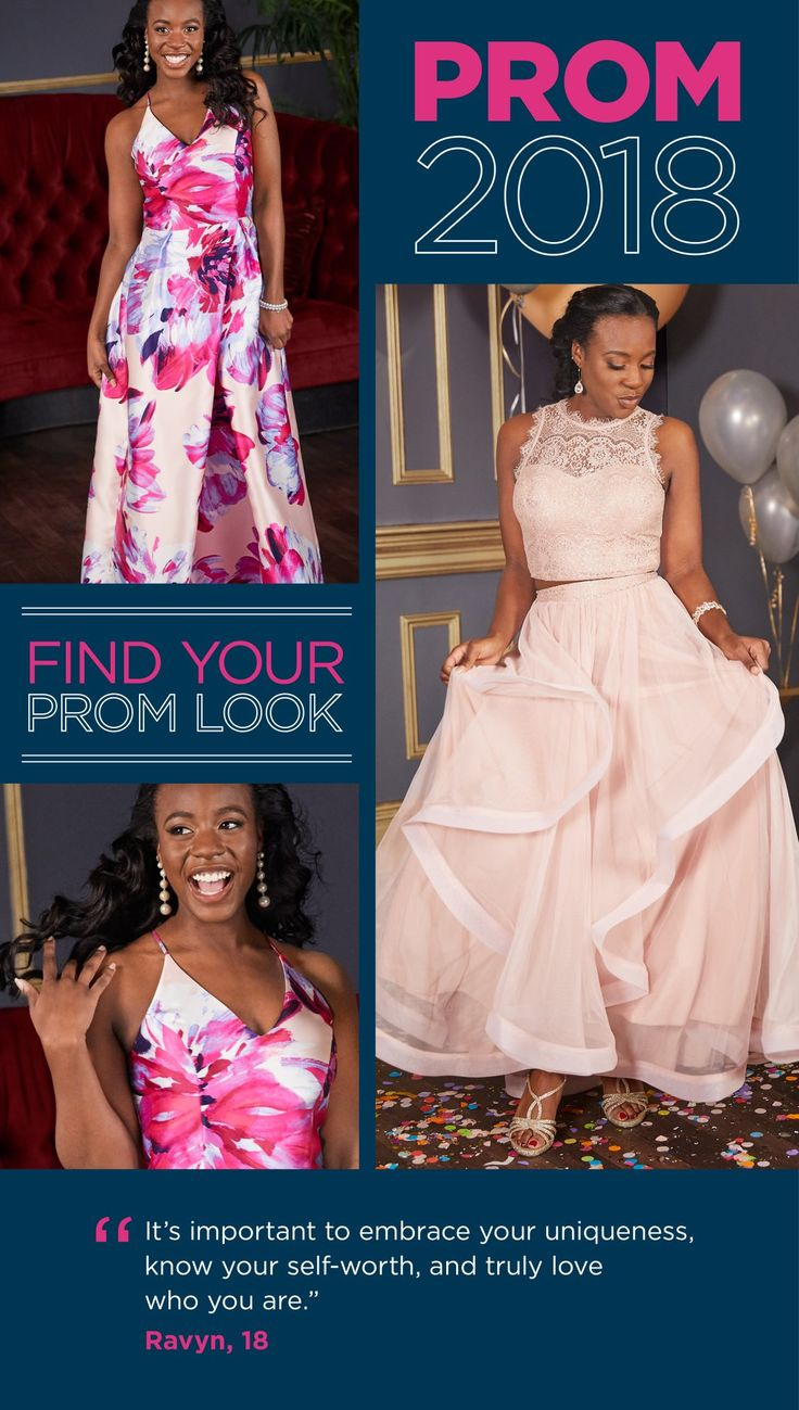 Our YMCA teen, Ravyn, has a special uniqueness that shines through in her prom style. She chose a bold, pink and red dress that will make a statement the minute she walks into the room. The v-neck, delicate straps and a-line silhouette come together for the perfect fit. With a prom dress this bold, she chose a statement tassel earring to tie it all together. For the finished look, find prom beauty at Sephora Inside JCPenney and prom hair at JCPenney Salon!