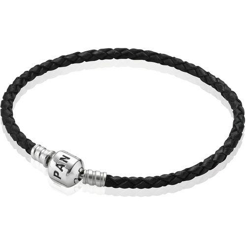 Кожаный браслет с замком из серебра Pandora Moments 590705CBK-S1