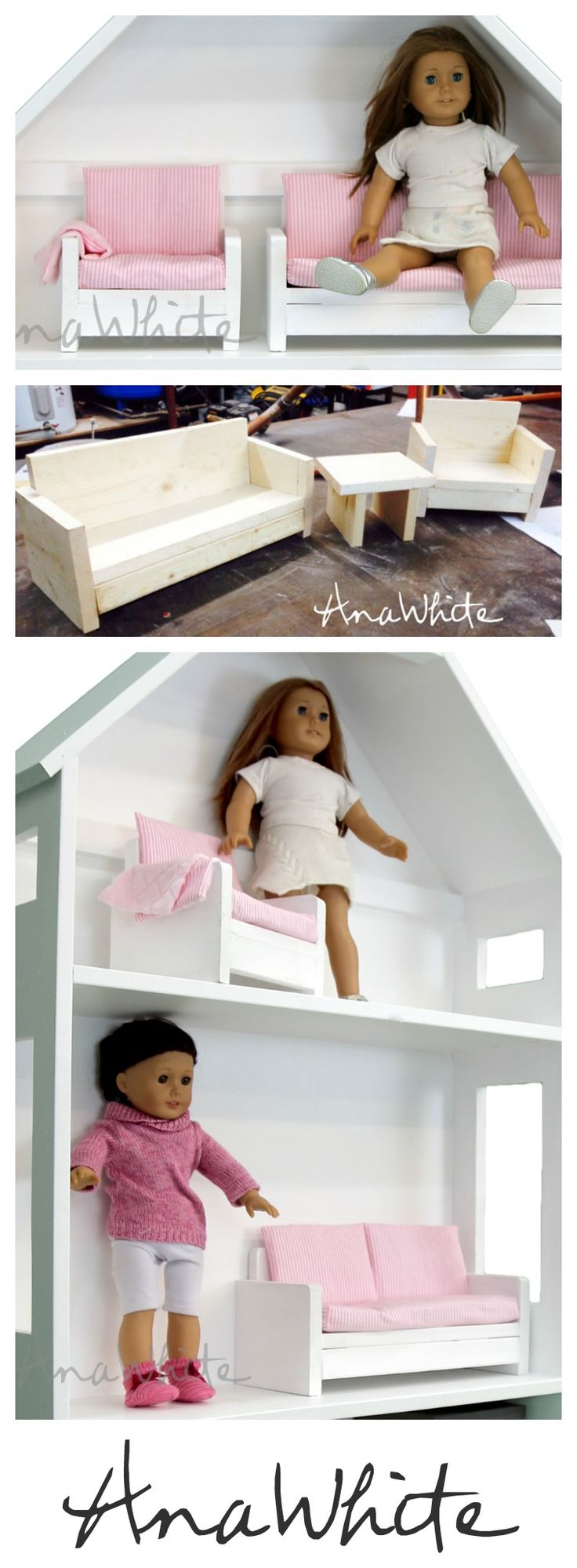 "diy doll furniture you can make from scrap wood - Easy to make American Girl or 18"" Doll Sofa and Chair!  Just 1x6 and 1x2 scrap wood.  Easy plans by Ana White 