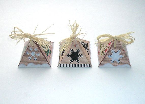 Neutral winter gift boxes, snow flake DIY printable ornaments, black white beige, favor box for little christmas gifts, templates, 3 pdf on Etsy, $3.20
