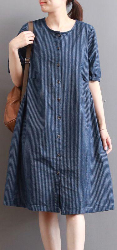 Elegant dark blue pure linen dresses plus size holiday ...