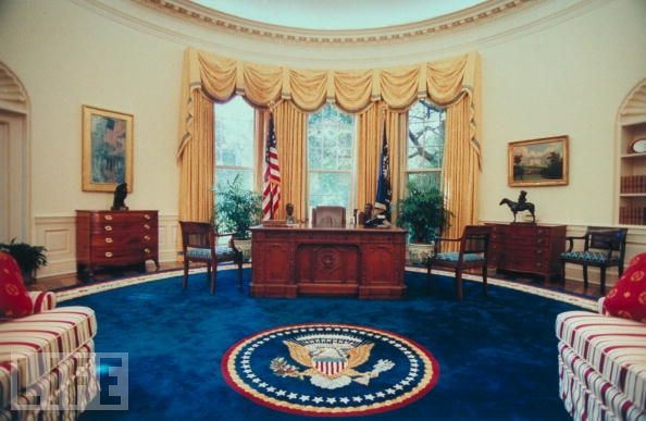 Oval office the blue rug looks like it was during Oval office decor by president
