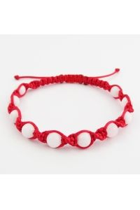 Náramok pletený točený červený Jadeit
