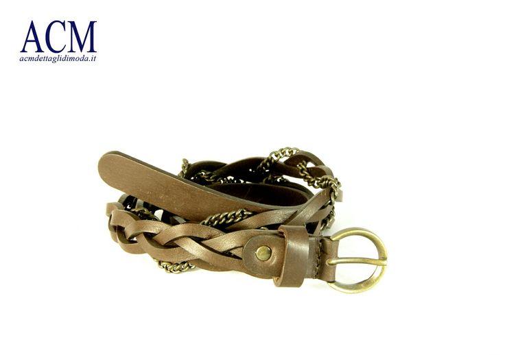 Cintura donna in cuoio intrecciato con catena vintage #woman #leather #belt #chain #braided