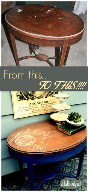diy french vintage postage stamp parlor table makeover before sanding staining diy
