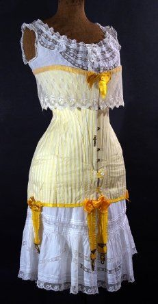 corset, cotton, silk, c. 1908 - 1913, Argentinian, founder's collection