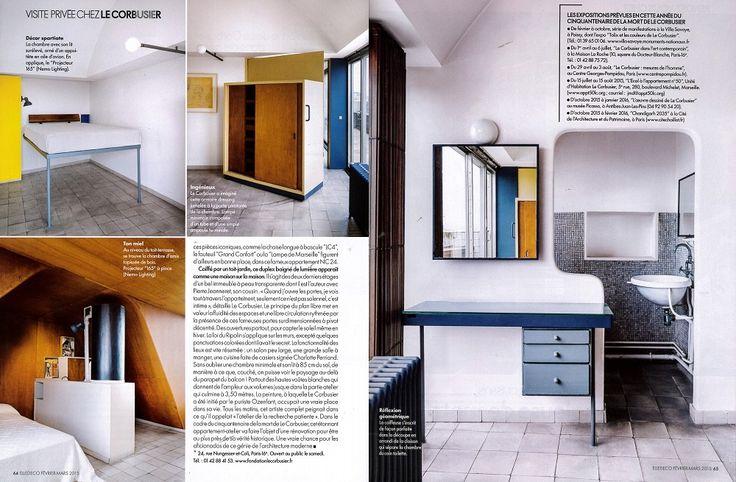 Projecteur 165 design by Le Corbusier reissued by #nemolighting http://nemolighting.com/products/show/projecteur-165-wall-ceiling/ Nemo's lamps at Le Corbusier's apartment in Paris. ELLE DECOR FRANCE n° 233 with NEMO and La Fondation Le Corbusier #nemolighting #nemolamps #lecorbusier #elledecorationfr #elledecor — presso 24, rue Nungesser et Coli