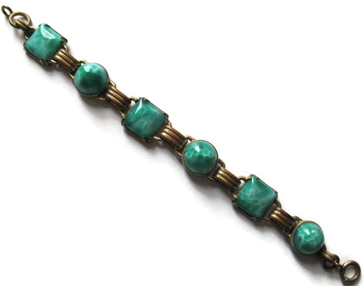 #20 Green Peking Glass Bracelet 1940 Exclusively at Lee Caplan Vintage Collection  on RubyLane