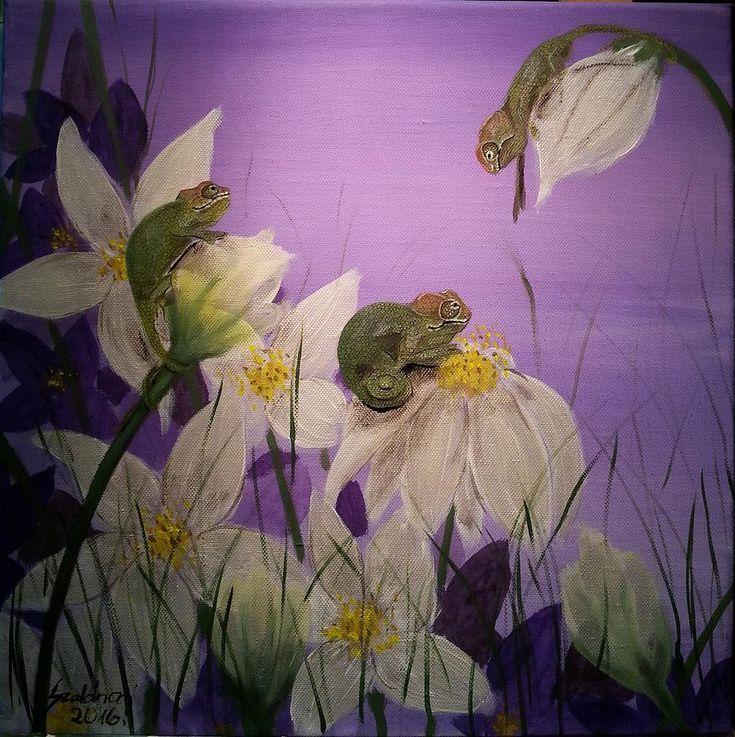 Chameleon Painting - Chameleon Babys By Twilight by Judit Szalanczi