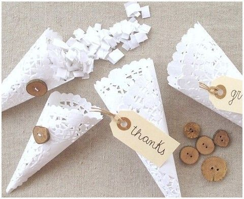 To hold rose petals to throw at the end of the ceremony:) Paper Doily Wedding Crafts. || At French Wedding Style.