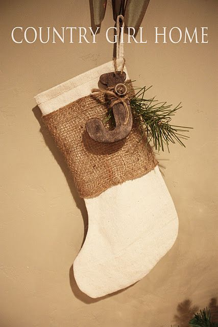 burlap stocking with initial treat bags country With wooden letters for stockings