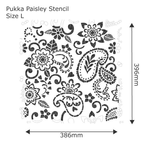 Pukka Paisley Stencil - Buy reusable wall stencils online at The Stencil Studio