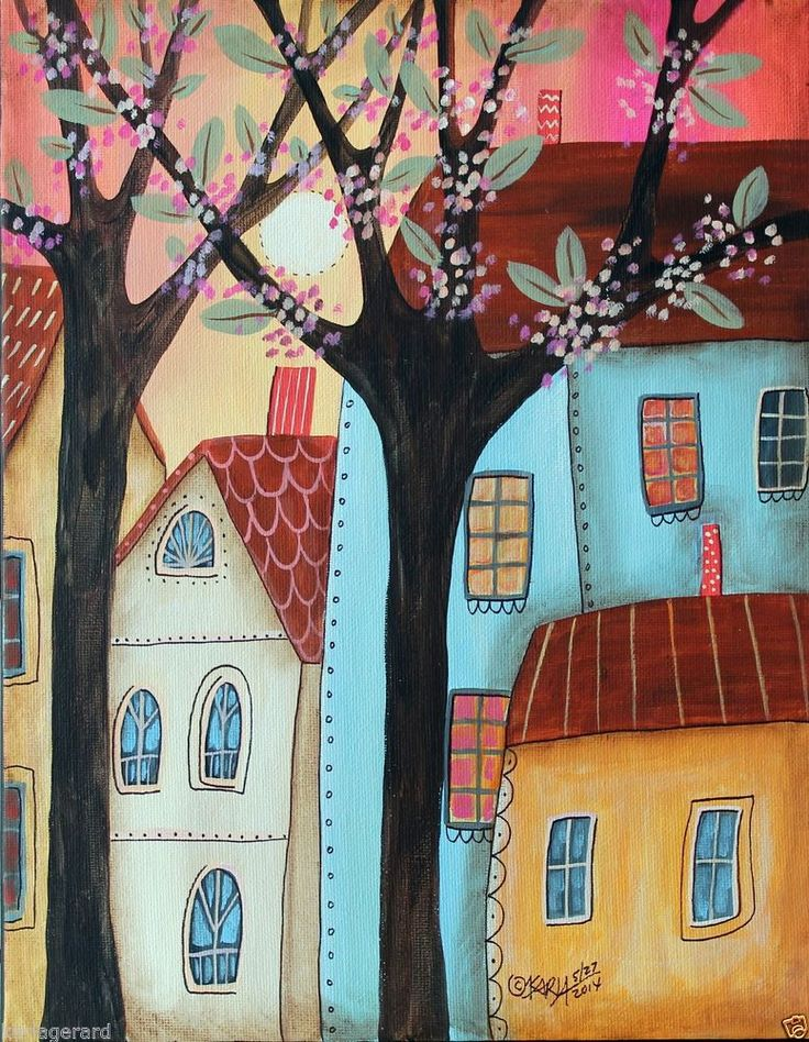 Daylight 11x14 inch Trees Houses ORIG Canvas PAINTING Abstract FOLK ART Karla G..new painting for sale, just added to store...