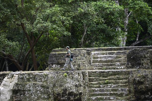 The Uaxactun archeological site Uaxactun municipality Peten department some 570 km north of Guatemala City on the border with Mexico and...