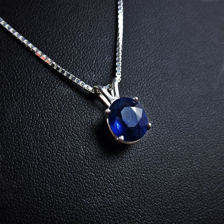 Sapphire Necklace, 3.80 carat, Blue Sapphire Necklace, Sapphire Pendant, Sapphire Solitaire, Silver Sapphire Necklace, September Birthstone by Bihls on Etsy https://www.etsy.com/listing/459102392/sapphire-necklace-380-carat-blue