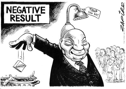 Jacob Zuma declares his HIV negative status at the launch of Natalspruit Hospital, and Zapiro wonders about the message he is trying to convey. | www.zapiro.com