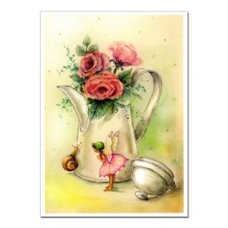 Zauberhaftes Blumenkind (Postkarte) --- Enchanting flower child (postcard)