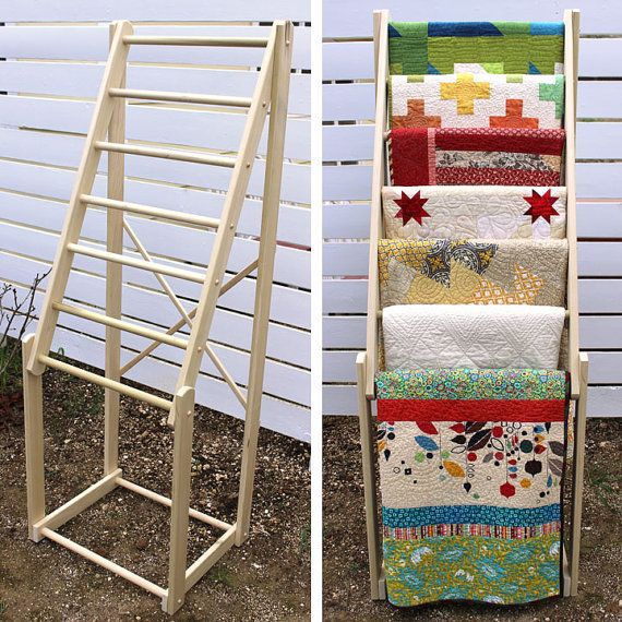 "Free standing, tall quilt rack, made of hard wood (poplar) with seven 1"" diameter rungs - dimensions: 24"" wide x 18.5"" deep x 65"" high"