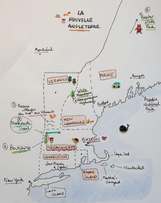 une carte de la Nouvelle Angleterre