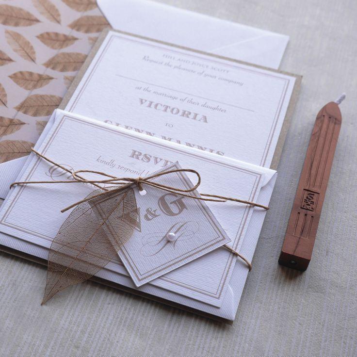 nautical wedding invitations uk%0A Autumn  Fall wedding  These pretty rustic leaf wedding designs created by  Top Table Design