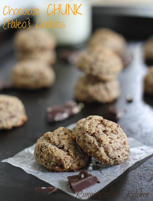 Yummy paleo chocolate chip cookies with almond meal