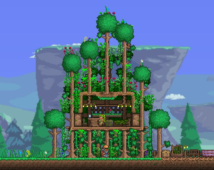 a3lita loves building her #Terraria houses in living trees, but this takes it to a whole new height. Terraria Treehouse